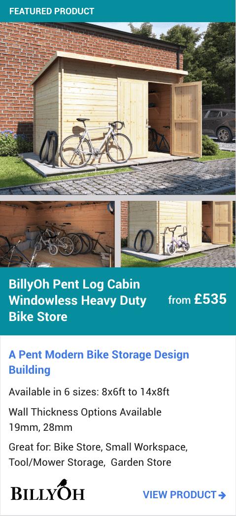 BillyOh Pent Log Cabin Windowless Heavy Duty Bike Store