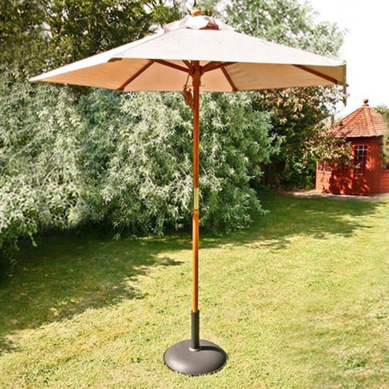 2m Sturdi Plus Aluminium Push Up Garden Parasol - Natural