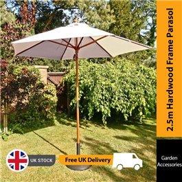 Sturdi 2.5m Hardwood Frame Garden Parasol - Taupe