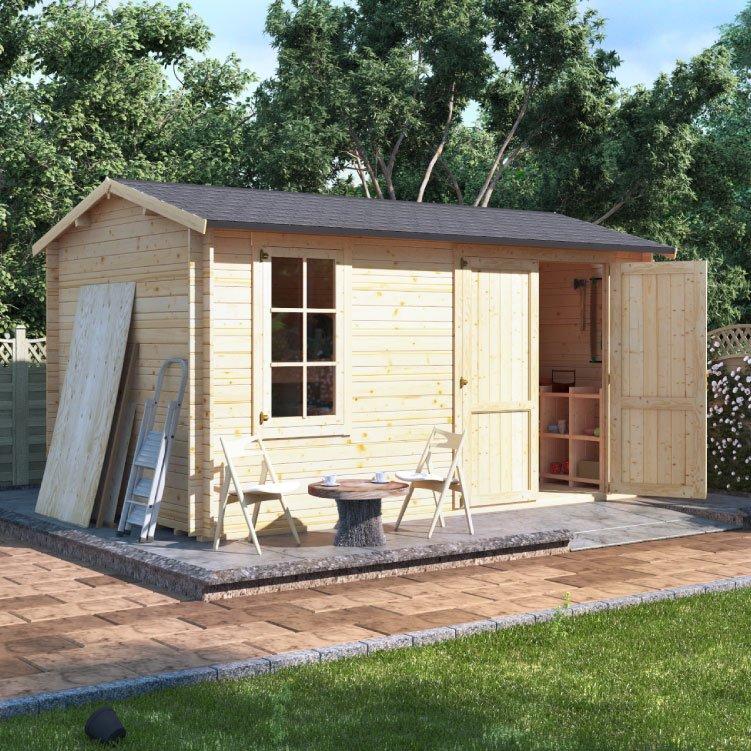 Billyoh traditional log cabin workshop garden sheds for Traditional log cabin plans