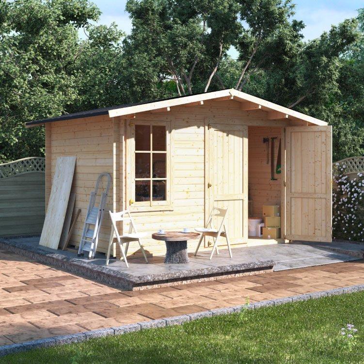 Billyoh alpine workshop log cabin garden sheds garden for Garden log cabins uk