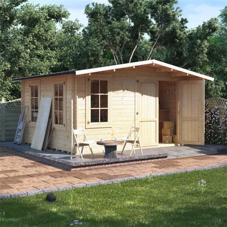 4 x 4 Log Cabin - BillyOh Alpine Workshop Log Cabin - W4.0 x D4.0 Wooden Garden Building