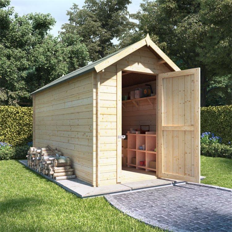 12 x 6 Log Cabin BillyOh Heavy Duty Apex Windowless Log Cabin Store - 28mm
