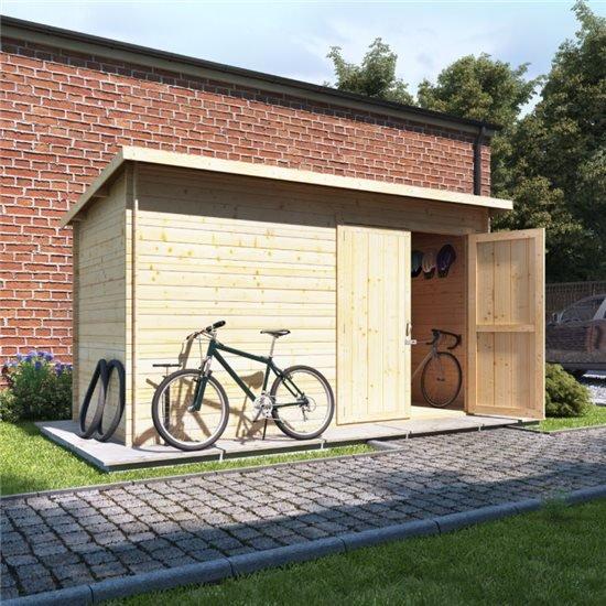12x6 log cabin ouble oor  BillyOh Pent Log Cabin Windowless Heavy Duty Bike Store Range - 19