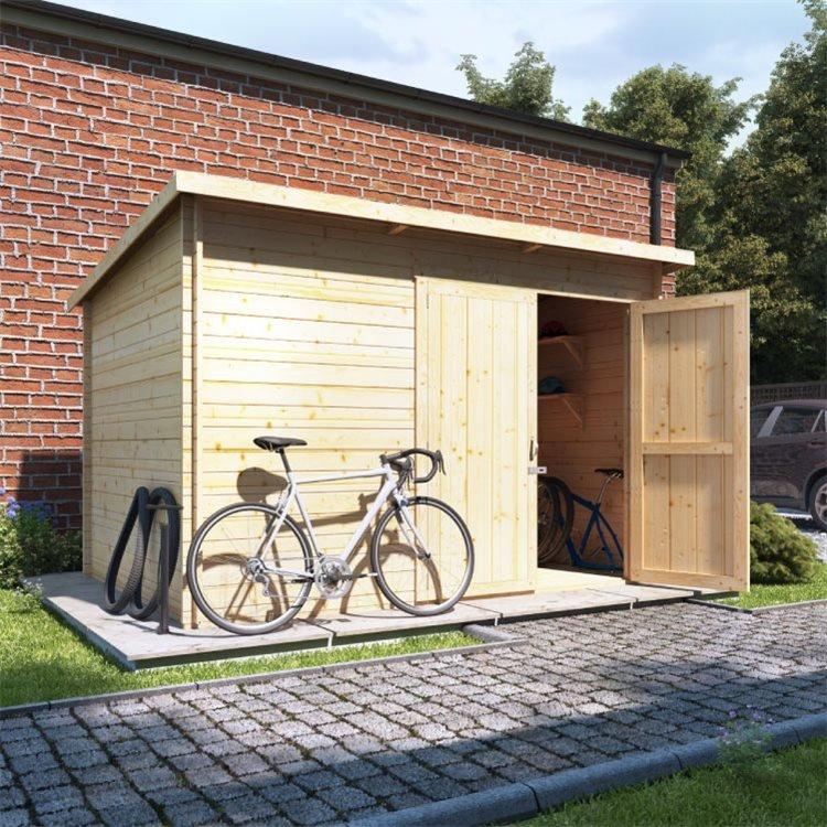 10 x 8 Log Cabin - BillyOh Pent Log Cabin Windowless Heavy Duty Bike Store Range - 10x8 Log Cabin Double Door - 28mm