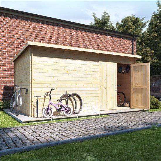 14x8 log cabin ouble oor  BillyOh Pent Log Cabin Windowless Heavy Duty Bike Store Range - 19