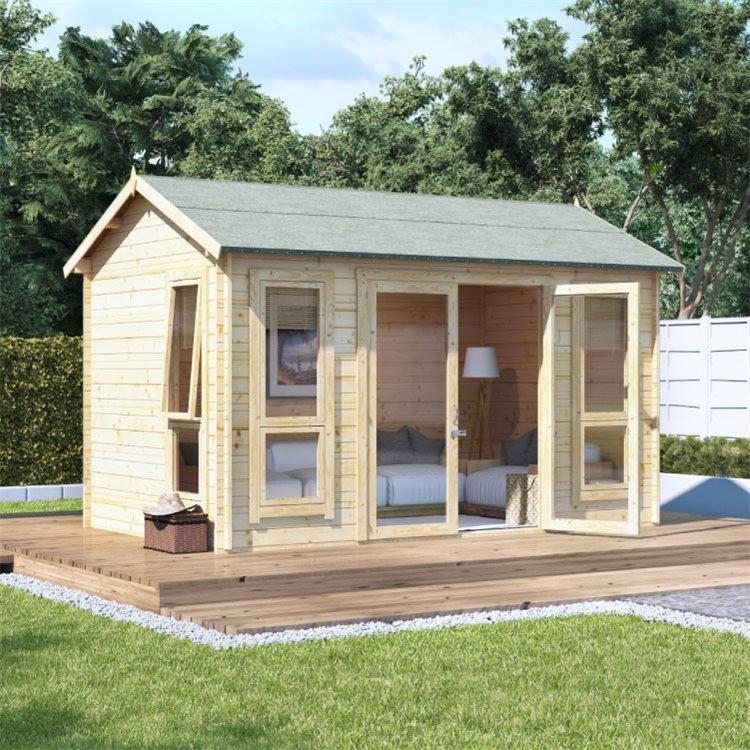 12 x 8 Pressure Treated Log Cabin - BillyOh Darcy Log Cabin Summerhouse - 12x8 Modern Double Door 28mm Reverse Apex Cabin
