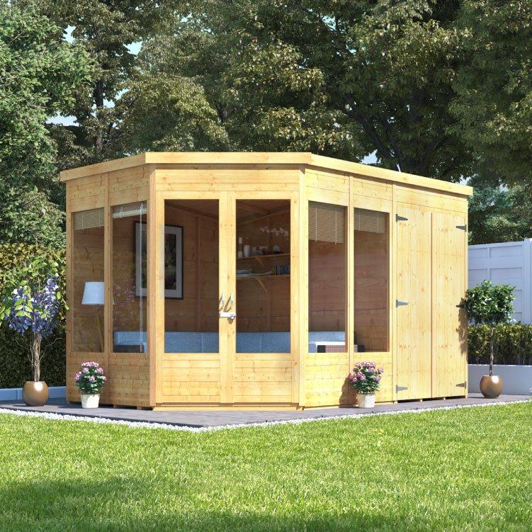 BillyOh Penton Corner Summerhouse With Side Store Wooden Sheds - Corner summer house
