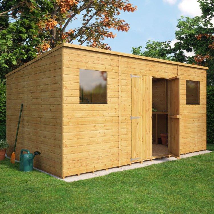 Pent shiplap central double door wooden shed garden for Uk garden buildings