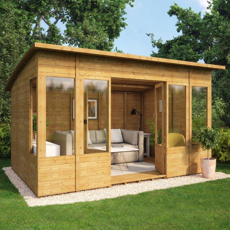 Relaxed Garden Summer House: Verano Wooden Summerhouse Sunroom Range