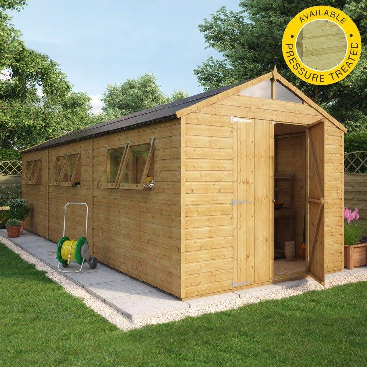 Hobbyist apex wooden garden shed double door wooden for Osb t g
