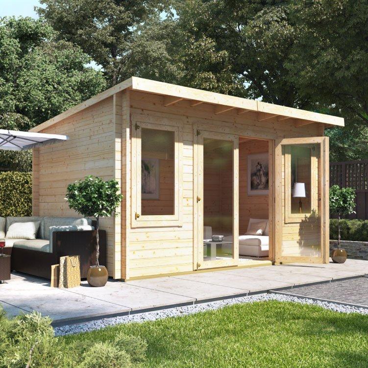 Billyoh fraya pent log cabin garden offices garden for Garden log cabins uk