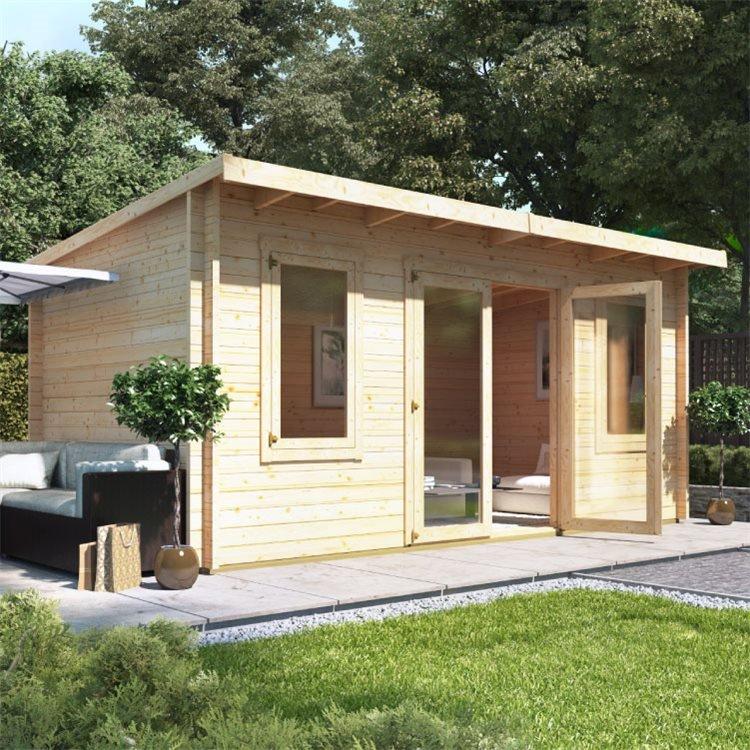 5 x 3 Pressure Treated Log Cabin - BillyOh Fraya Pent Log Cabin - 44mm Thickness Wooden Log Cabin - 5m x 3m