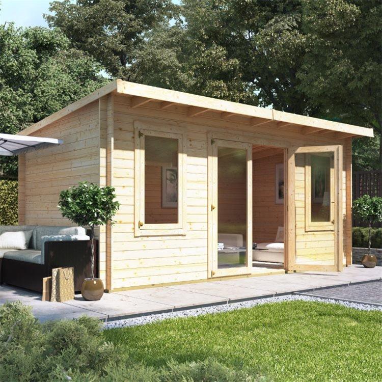 5 x 3 Pressure Treated Log Cabin - BillyOh Fraya Pent Log Cabin - 28mm Thickness Wooden Log Cabin - 5m x 3m