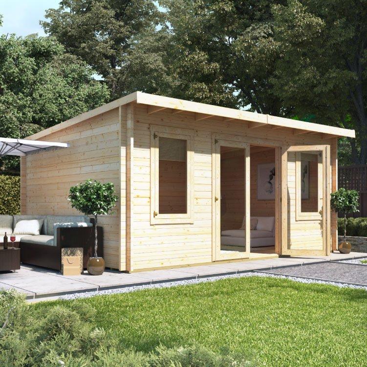 5.0m x 4.0m  BillyOh Fraya Pent Log Cabin - 44