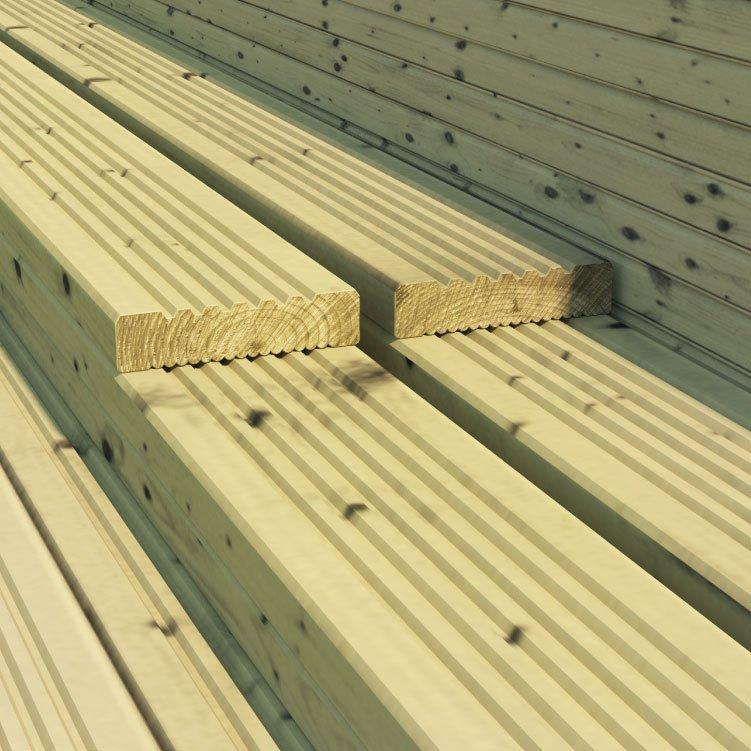 BillyOh 3.6 metre Pressure Treated Wooden Decking (120mm x 28mm)