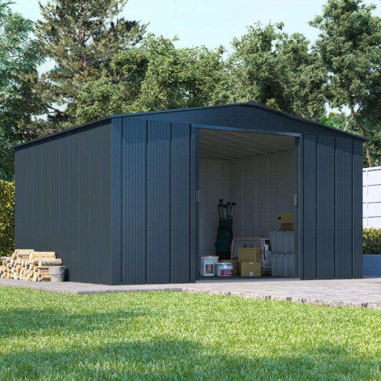 Billyoh partner top shed apex roof metal shed garden for Tops garden buildings