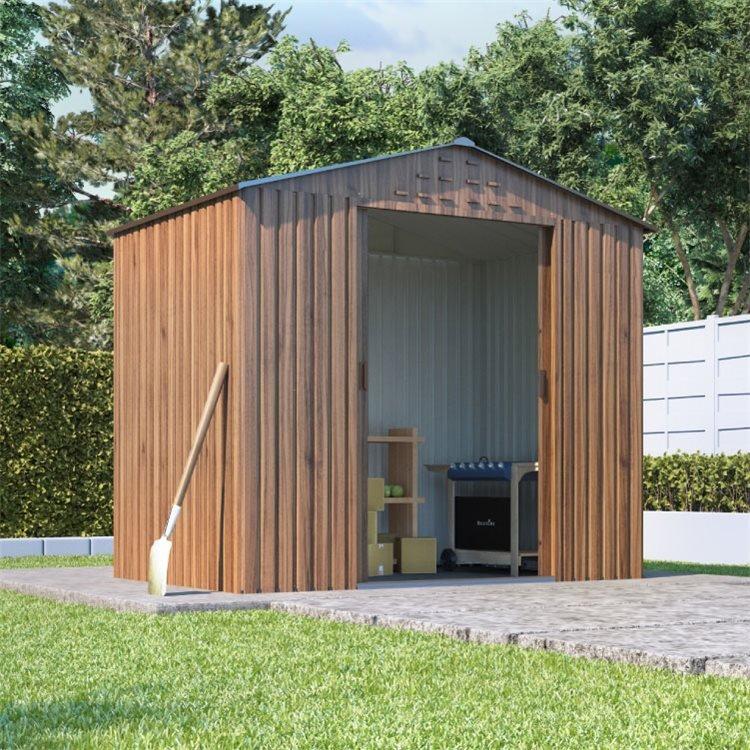 BillyOh Partner Woodgrain Apex Roof Metal Shed