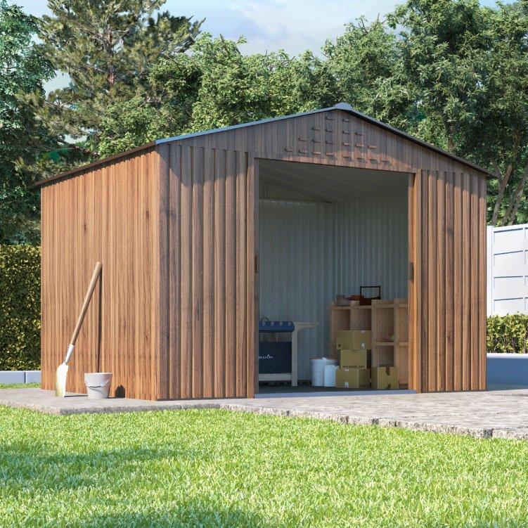 8 x 6 BillyOh Partner Woodgrain Apex Roof Metal Shed - Brown