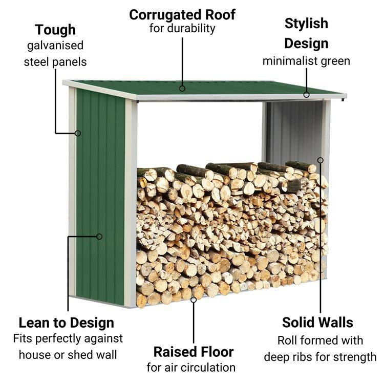 BillyOh Metal Log Store Garden Storage Shed