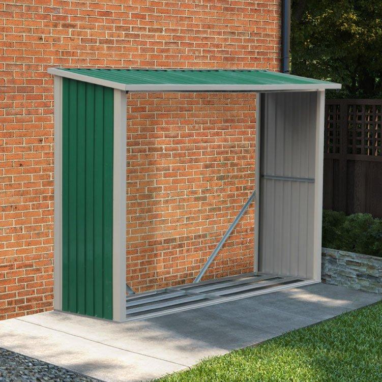 BillyOh Metal Log Store Garden Storage Shed - 6x3 Green