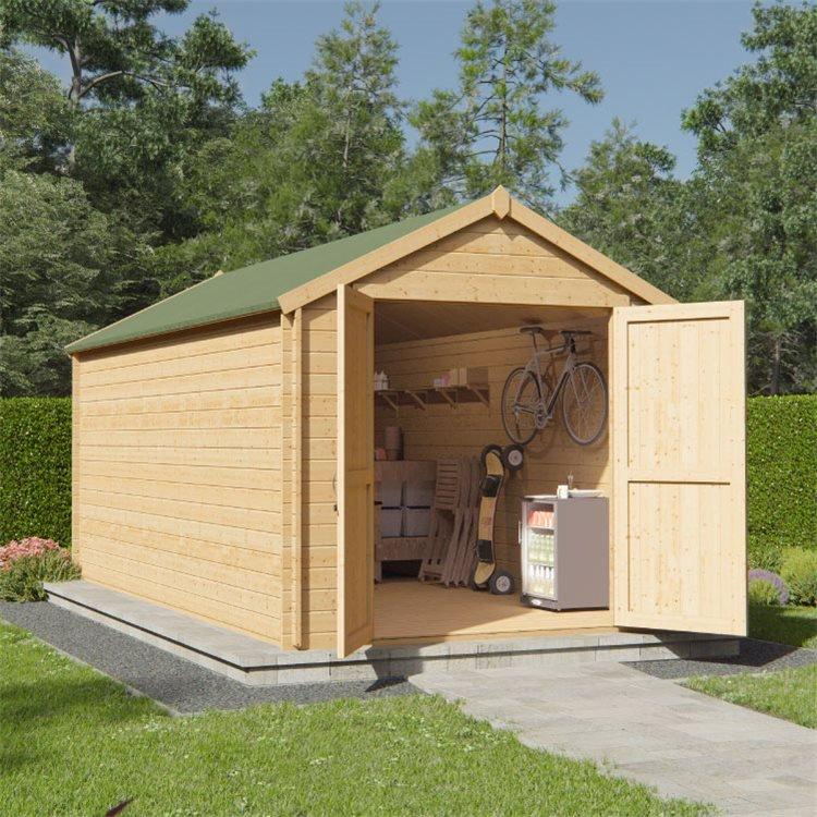 BillyOh Pro Apex Log Cabin - W2.4m x D4.5m - 28mm Tongue & Groove Walls & Wide Door