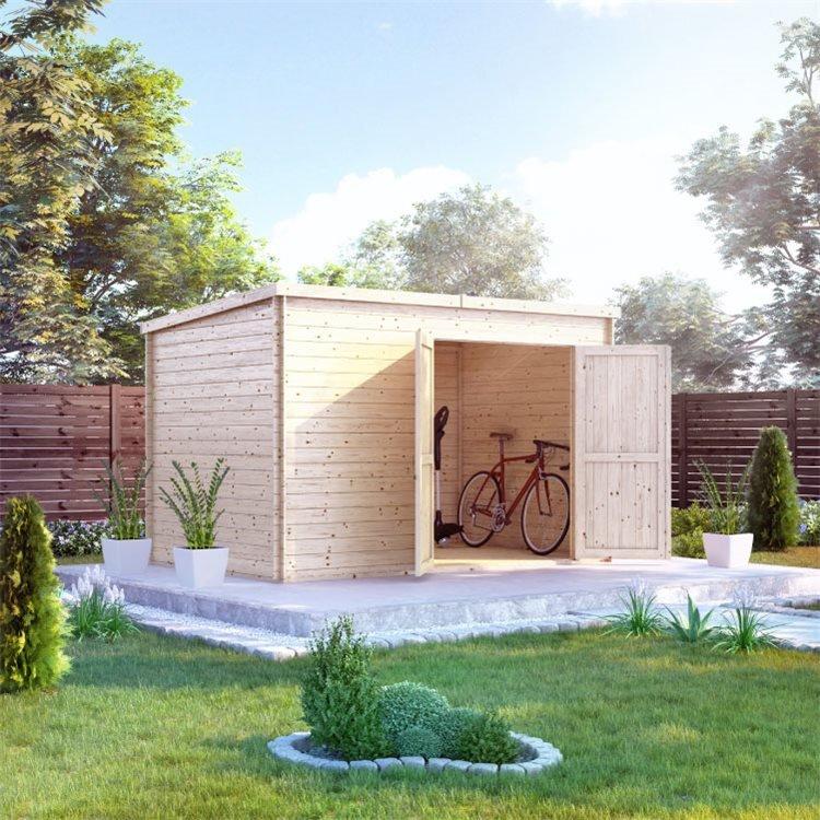 BillyOh Pro Pent Log Cabin - W3.3m x D2.1m - 19mm Tongue & Groove Walls