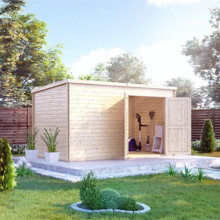 BillyOh Pro Pent Log Cabin - W3.9m x D2.1m - 19mm Tongue & Groove Walls