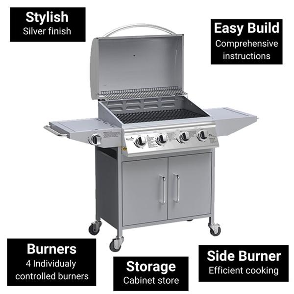 BillyOh Huntsville Silver 4 Burner Gas BBQ Grill with Side Burner & Side Table Includes Cover & Regulator