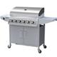 BillyOh Huntsville Silver 6 Burner Gas BBQ Grill with Side Burner & Side Table Includes Cover & Regulator