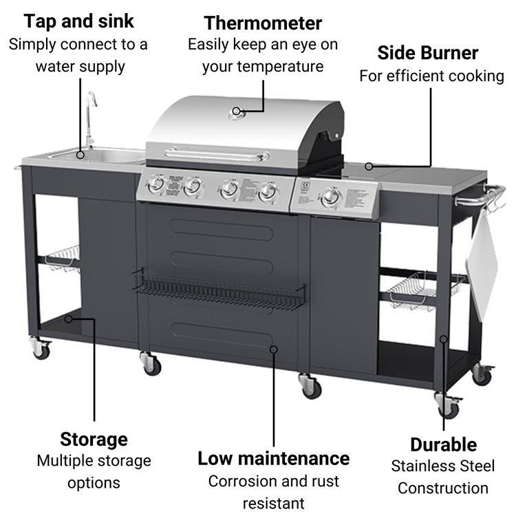 BillyOh Alabama Gas BBQ 4 Burner + Side Burner & Sink Inc Cover & Regulator
