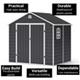 BillyOh Ashford Apex Plastic Garden Storage Shed Including Foundation Kit Grey
