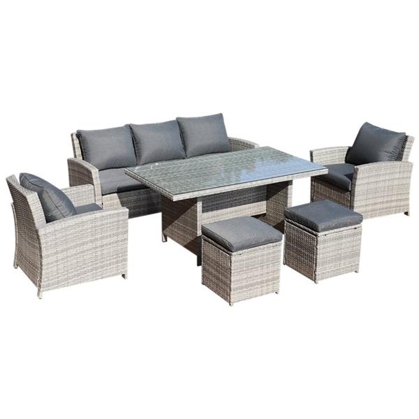 BillyOh Minerva 7 Seater Outdoor Rattan Garden Dining Sofa Set