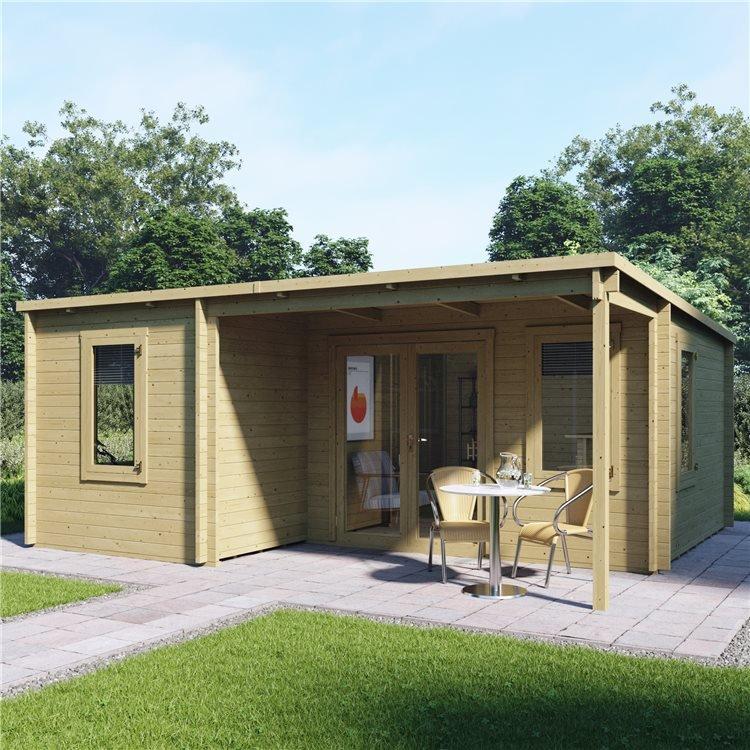 5.7m x 4.8m Pressure Treated Log Cabin - BillyOh Cove Multiroom Log Cabin - 44mm