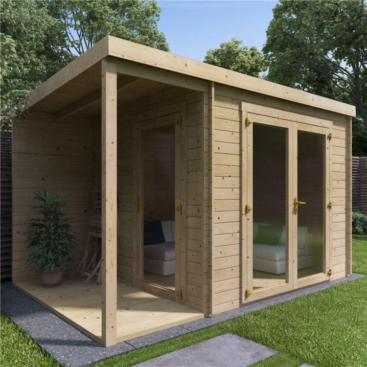 12 x 8 Pressure Treated Log Cabin - BillyOh Porto Log Cabin - 28mm