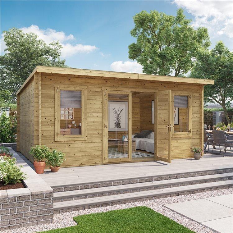 5 x 4 Pressure Treated Log Cabin - BillyOh Fraya Pent Log Cabin - 44mm Thickness Wooden Log Cabin - 5m x 4m