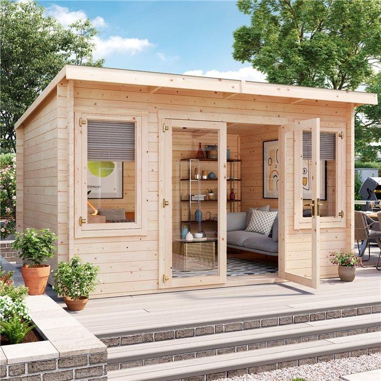 4.5 x 3 Log Cabin - BillyOh Fraya Pent Log Cabin - 44mm Thickness Wooden Log Cabin - 4.5m x 3m