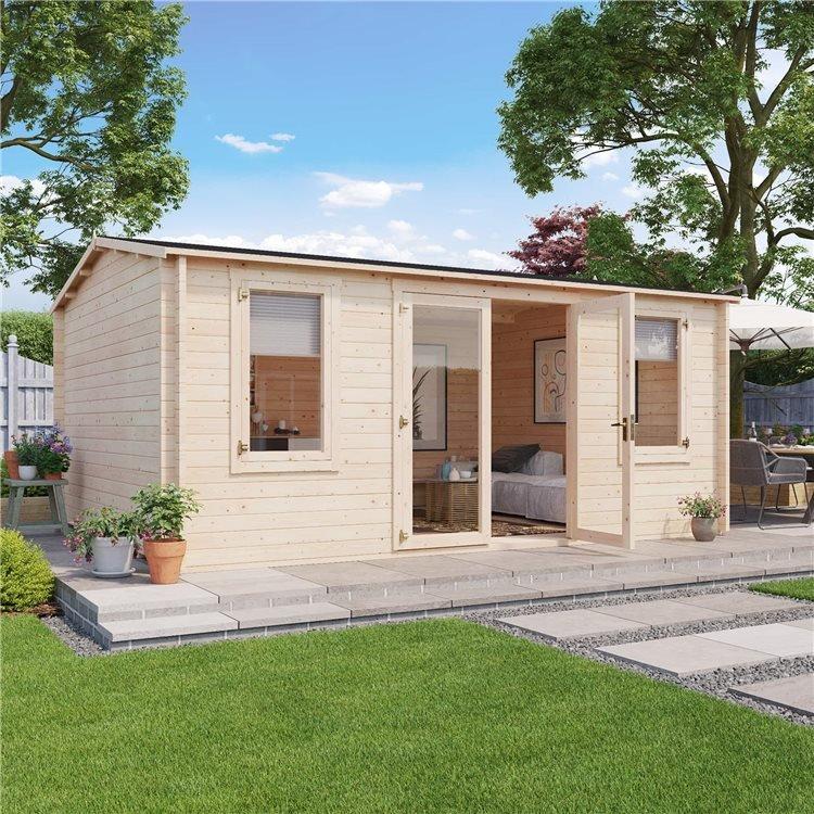 5 x 4 Log Cabin - BillyOh Dorset Log Cabin - 44mm Thickness Wooden Log Cabin - 5m x 4m Reverse Apex Cabin