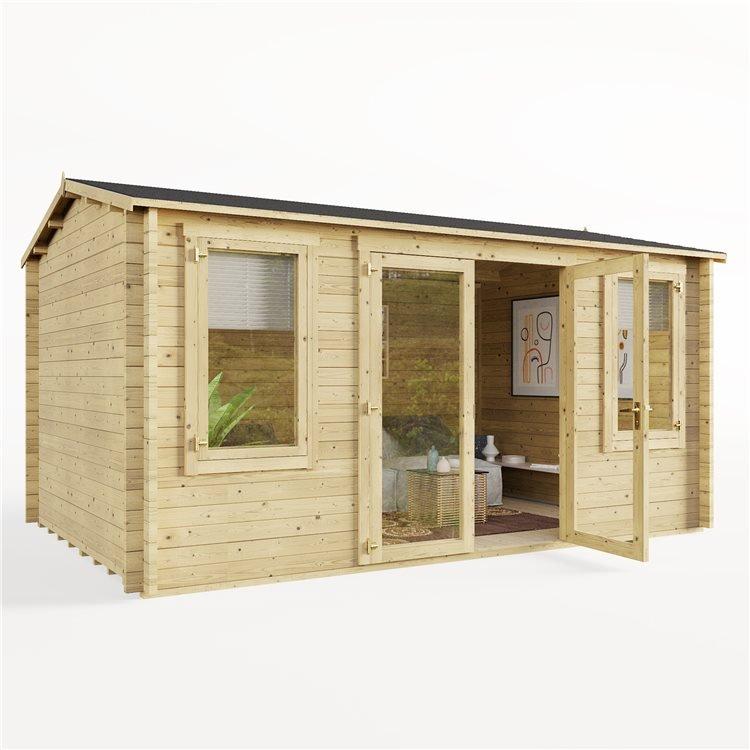 4.5 x 3 Pressure Treated Log Cabin - BillyOh Dorset Log Cabin - 44mm Thickness Wooden Log Cabin - 4.5m x 3m Reverse Apex Cabin