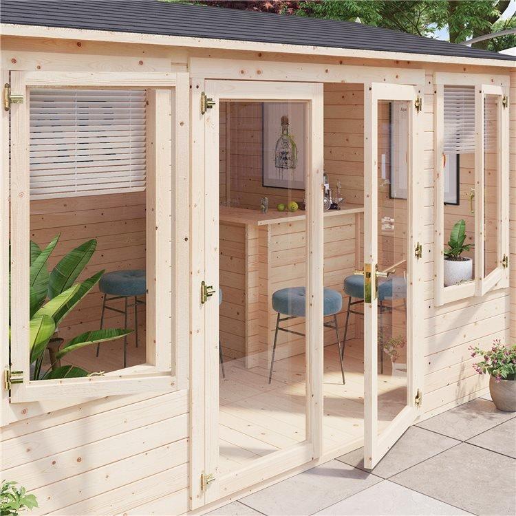BillyOh Dorset Log Cabin Exterior with open door on patio