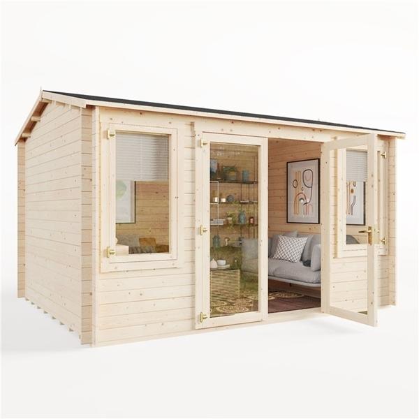 BillyOh Dorset Log Cabin Exterior on white background with open door