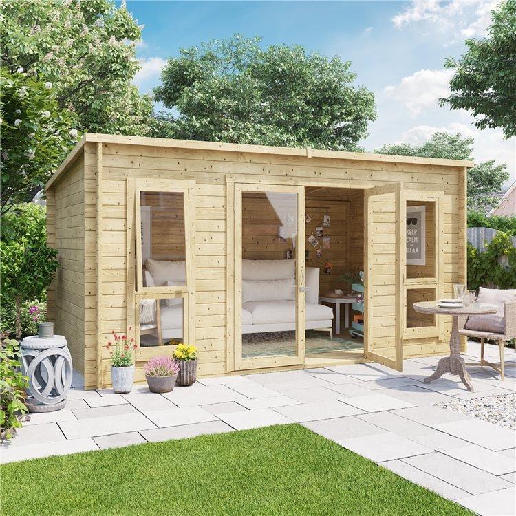 14 x 8 Pressure Treated Log Cabin - BillyOh Carmen Log Cabin Summerhouse - 28mm