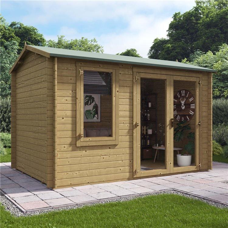 3.5m x 2.5m Pressure Treated Log Cabin - BillyOh Devon Log Cabin - 28mm Tongue & Groove Wooden Garden Building