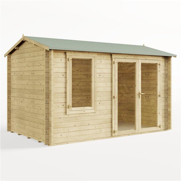 4.0m x 2.5m Pressure Treated Log Cabin - BillyOh Devon Log Cabin - 44mm Tongue & Groove Wooden Garden Building
