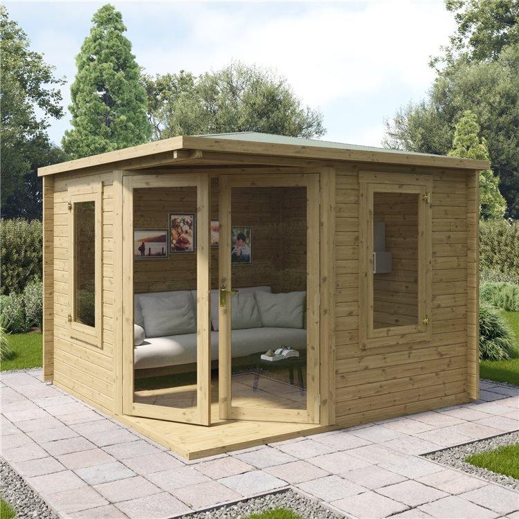 3 x 3m Pressure Treated Log Cabin - BillyOh Robyn Corner Cabin - Heavy Duty 44mm Log Boards