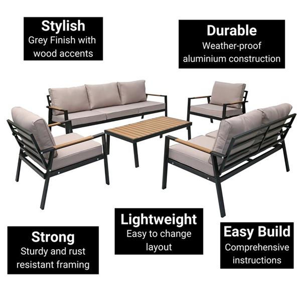 BillyOh Amalfi 7 Seater Outdoor Aluminium Garden Sofa Set