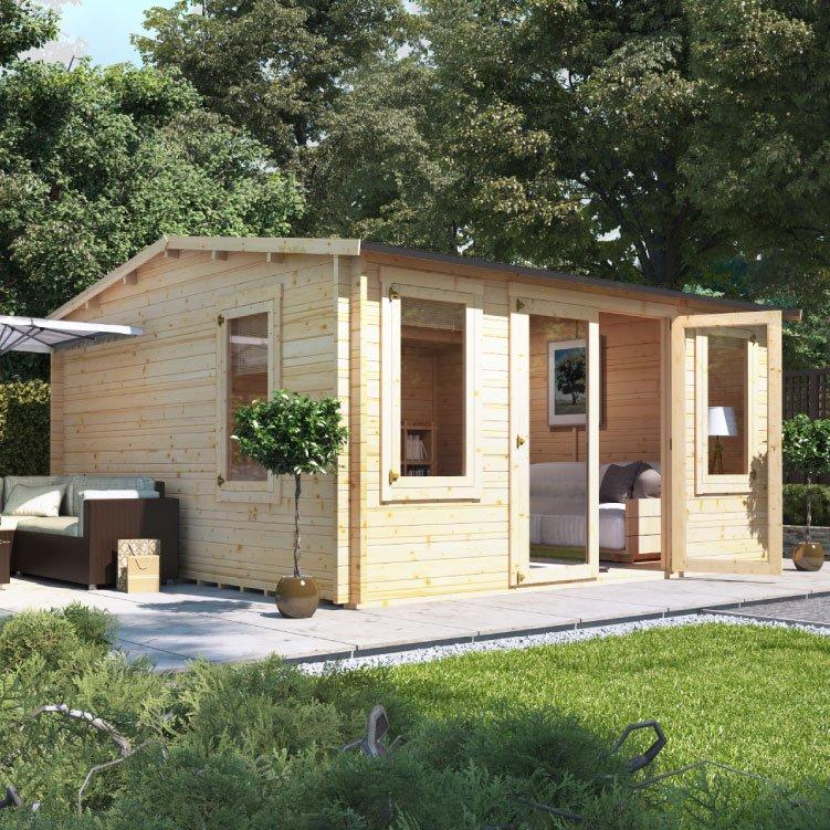 4.5m x 4.5m BillyOh Dorset Log Cabin - 28,35,44