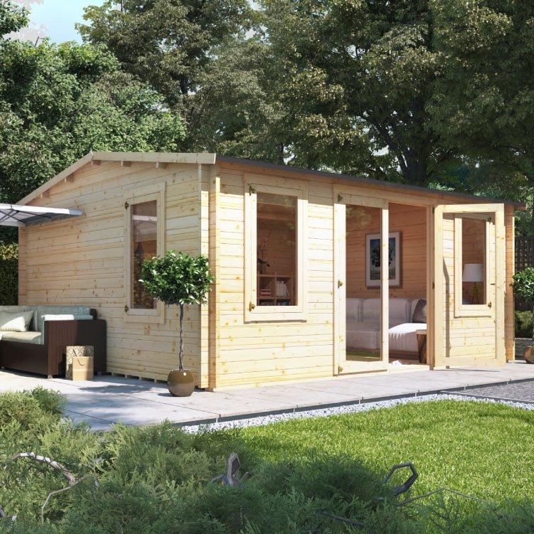 5.0m x 4.5m BillyOh Dorset Log Cabin - 28,35,44