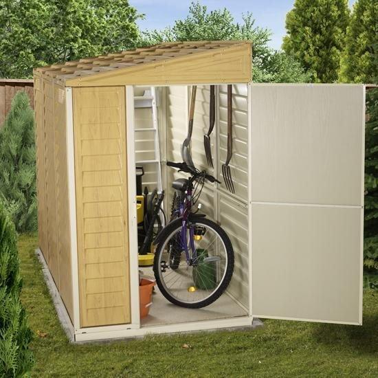 Billyoh retford premium woodgrain pent plastic sheds inc for Plastic pent shed