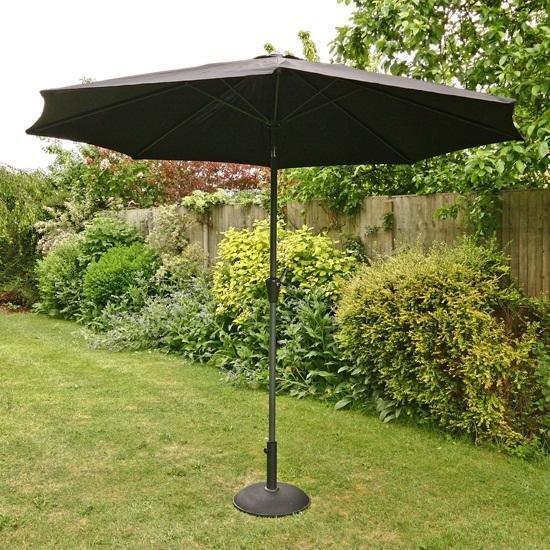 3m Sturdi Plus Aluminium Crank & Tilt Garden Parasol - Black